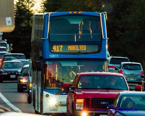 A Community Transit Route 417 Seattle-Mukilteo Commuter Double Tall Bus In Mukilteo Traffic