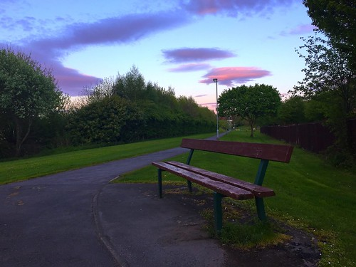 clouds sunrise bench seat earlymorning walkway redsky benches hbm benched