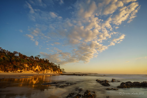 2015 australia diggerscamp nsw newsouthwales sonya7r yuraygirnationalpark beach clouds coast coastal ocean rocks sea sunrise waves golden light longexposure reflection