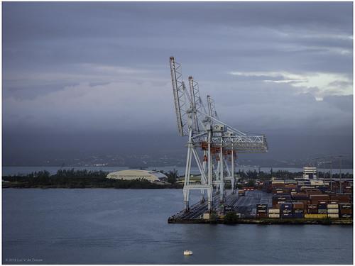barbados clouds cloudy container containercrane containerterminal crane harbor harbour sea ship terminal water pointeàpitre grandeterre guadeloupe