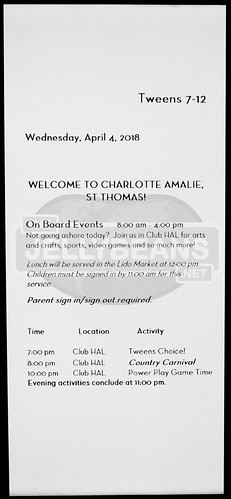 "Holland America Nieuw Amsterdam ""Club HAL"" (Tweens 7-12) Daily Schedule: 7-Day Eastern Caribbean Apr 4, 2018 