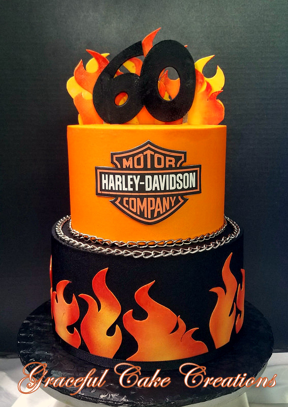 Fantastic Harley Davidson 60Th Birthday Cake With Flames And Logo Flickr Funny Birthday Cards Online Overcheapnameinfo