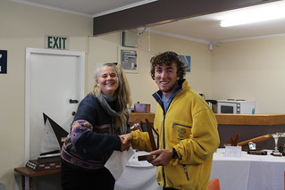 Loïc Eisenring  receiving the Secretary Junior Trophy for first junior in the Early Bird Series   by PLSC (Panmure Lagoon Sailing Club)