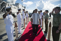 The president of the Republic of Kiribati Anote Tong and First Lady Madam Tong arrive at the misison's opening ceremony to celebrate the arrival of USNS Millinocket (JHSV 3). (U.S. Navy/MC1 Carla Burdt)