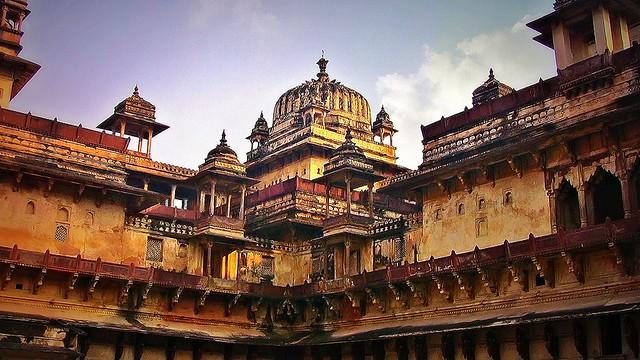 INDIEN, india- historisches Orchha, Raja Mahal-Fort und Jahangir Mahal- Palast, 14099/6944