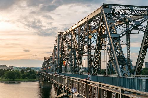 ottawaontariocanadaca bridge gatineau river sunset landscape