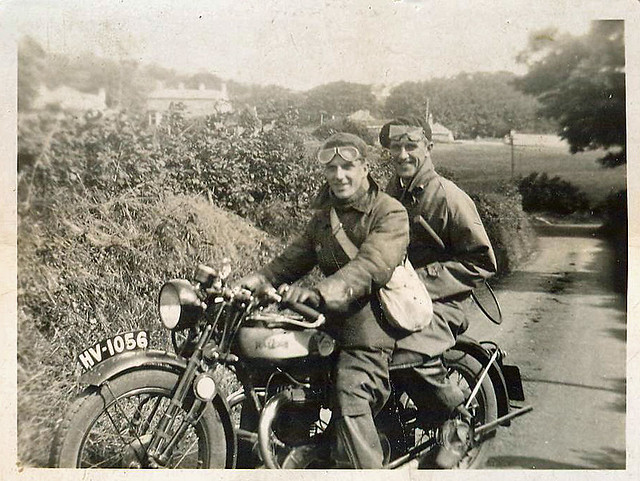 Shirley Burfield and Dad, Preston under Scar, Yorkshire, 1930's. on the way to enjoy a spot of tennis.