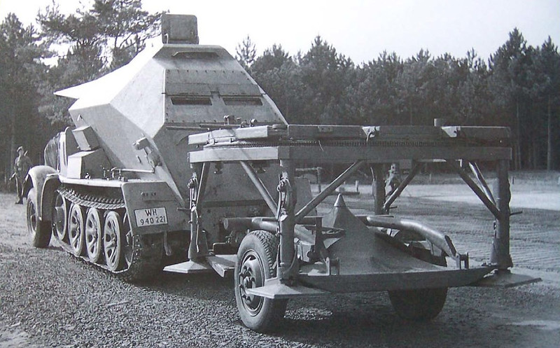 A modified SdKfz 7 artillery tractor