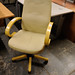 Wood and cream swivel leatherette office chair