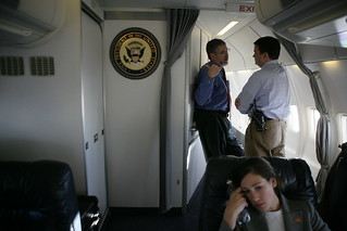 David Addington and Others Meet on Air Force Two En Route to Islamabad, Pakistan