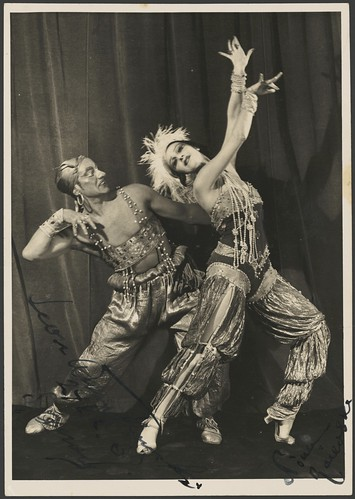 Leon Woizikowsky as the golden slave and Nina Raievska as Zoebeide in Scheherazade, Monte Carlo Russian Ballet, 1937 / Russell Roberts Pty. Ltd | by National Library of Australia Commons