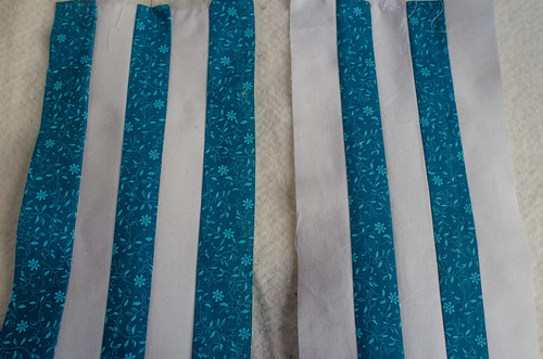 To adapt this pattern for strip piecing, I needed two sets of stripes: one 3/2 blue/white, and the other 3/2 white/blue.