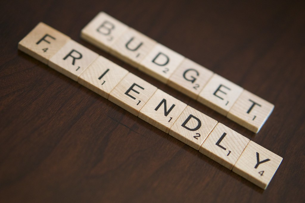 'budget frirendly' spelt out in scrabble tiles