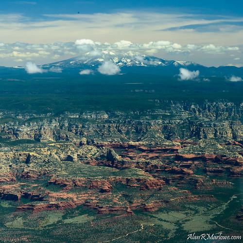 summer arizona green clouds landscape photography us flying unitedstates sedona aerial flagstaff squareformat aerialphotography flagstaffaz mthumphreys 10000feet