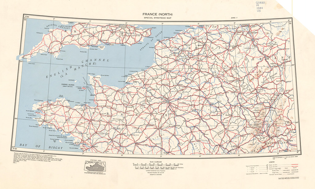 Map Of France North.France North By Army Map Service Year 1943 Scale 1 Flickr