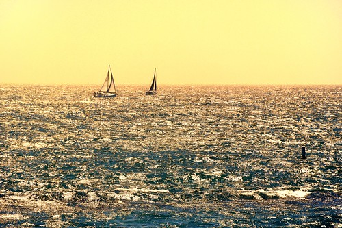 ocean california sunset water yellow sailboat pacificocean venicebeach sailboats santamonicabay waterpictorial joelach