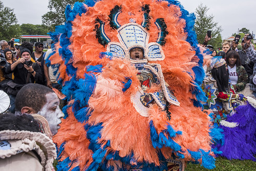 Hard Head Hunters Big Chief during Downtown Super Sunday on April 8, 2018. Photo by Ryan Hodgson-Rigsbee RHRphoto.com