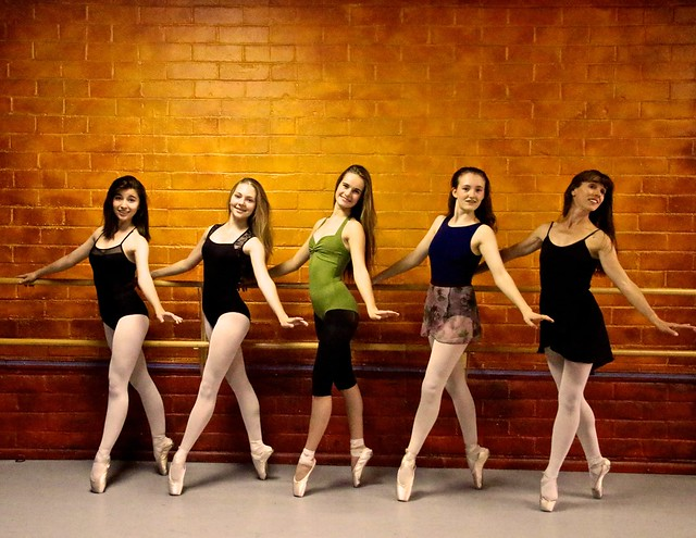 Young Ballerinas Posing For The Camera En Pointe