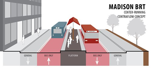 Madison Street center-running BRT mockup