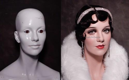 Vintage mannequin before & after