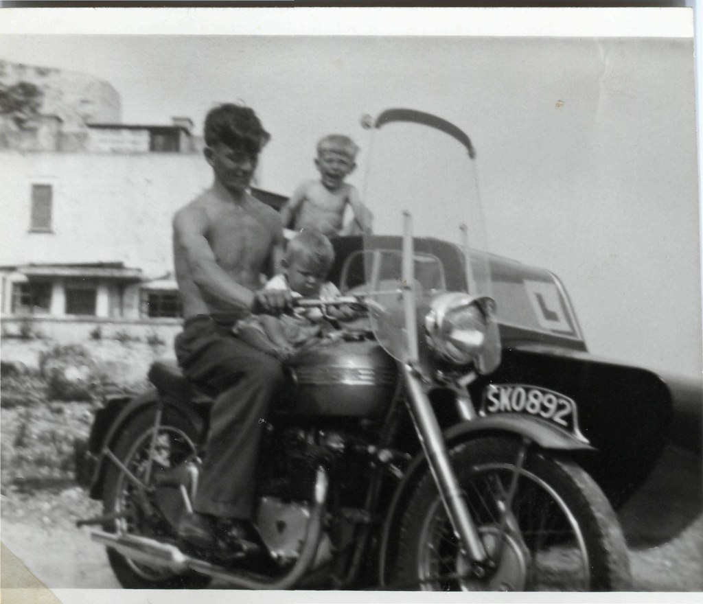 Ron, w Grahame and Steven on his Triumph Thunderbird and sidecar