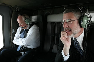 Vice President Cheney and David Addington Aboard Helicopter Lift to Tel Aviv, Israel