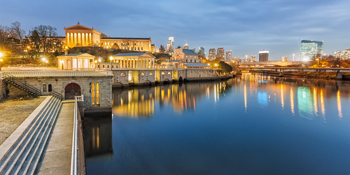 city blue sunset brown black philadelphia water beauty horizontal stone skyline architecture silver buildings reflections river dark evening downtown afternoon image dusk pennsylvania gray tan landmark location architectural historic reflected works restored late restoration walls waterworks schuylkill schuykill ochra