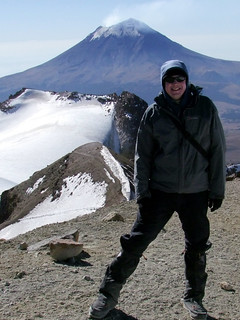 Me at El Pecho, the true summit of Iztaccihuatl (5220m) with Popocatepetl behind | by markhorrell
