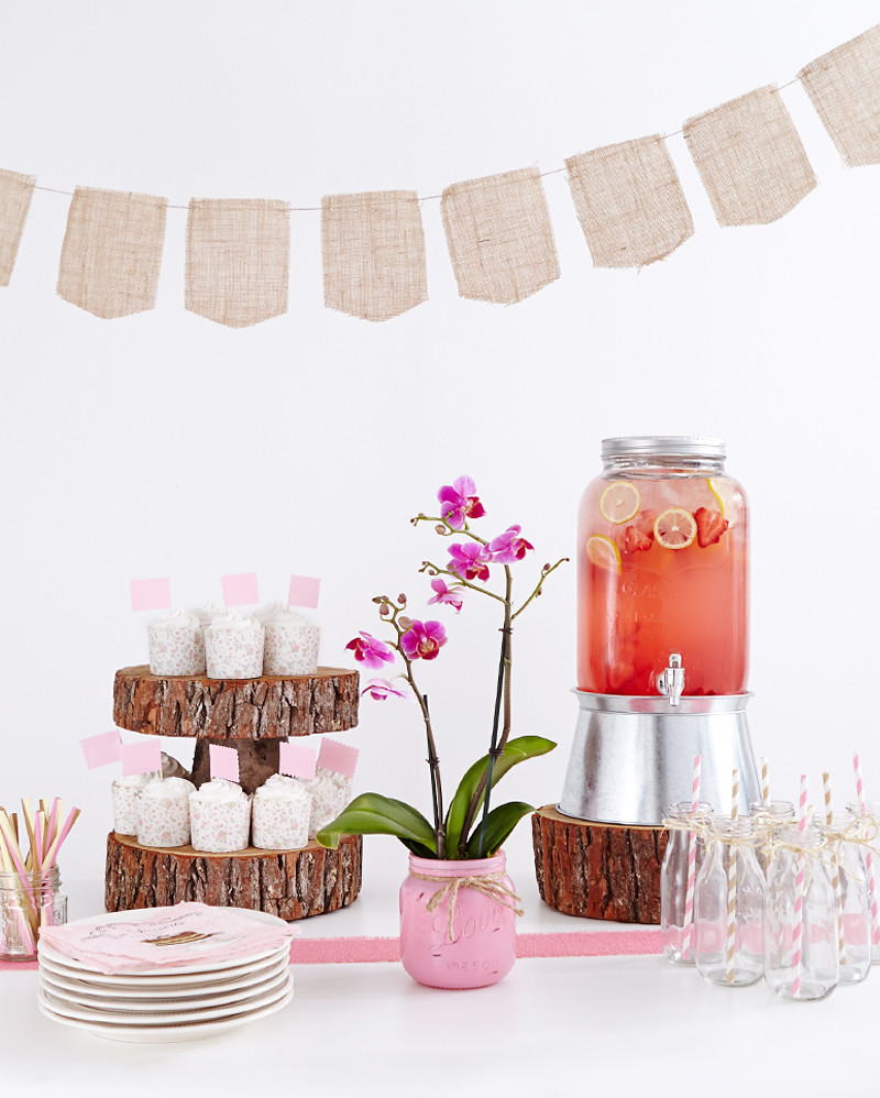 birthday party punch with lemons and strawberry lemonade glasses with straws potted orchid platn banner with burlap streamers plates