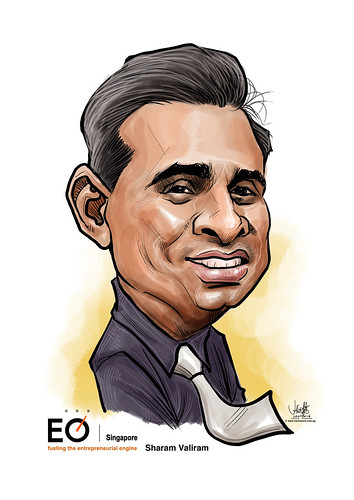 Sharam Valiram digital caricature for EO Singapore | by jit@portraitworkshop.com