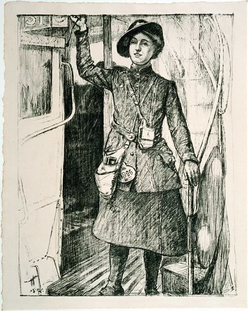 'In the towns - a bus conductress', Archibald Standish-Hartrick, 1917