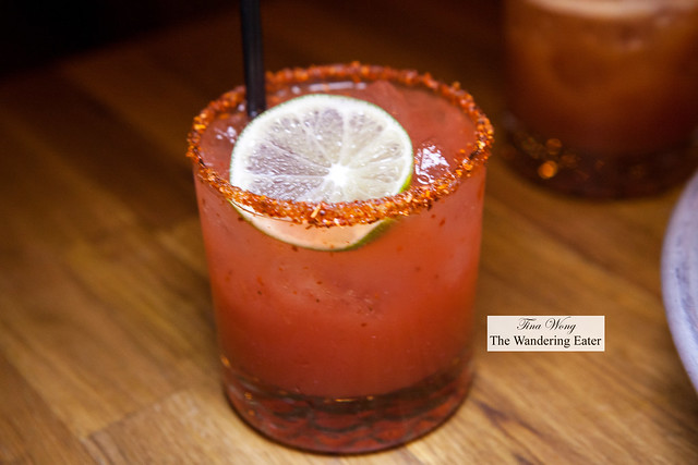 Watermelon margarita (made with sake instead of tequila)