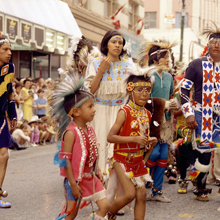 First Nations dancers in the Calgary Stampede Parade