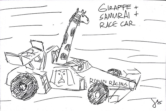 Giraffe + Samurai + Race Car