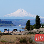 Sun, 05/03/2015 - 10:59 - View of Mt. Hood from our campsite along the Columbia River in Washington. Watch video of this road trip bit.ly/rvwt-lower-columbia.