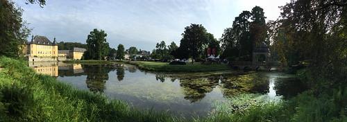 palace schlos dyck pond panoramic historic