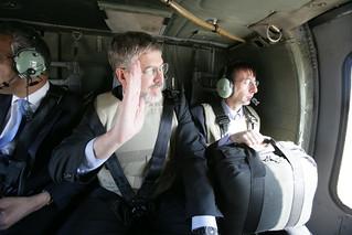 David Addington, Zalmay Khalilzad, and Dr. Lewis Hofmann Depart from Taji Air Base En Route to Baghdad International Airport
