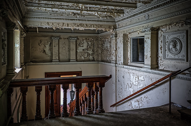view to the abandoned stair house