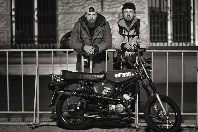 Jan & Jonas, proud of their east block Simson, relaxing after work in front of the Reichstag - Berlin, apr 20, 2015