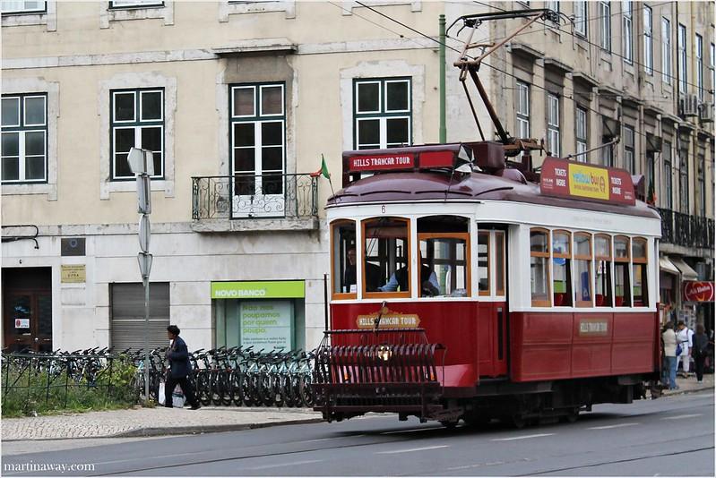 Red tram.