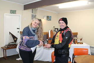 Chantal Grass presenting the Endeavour Trophy  to Jeff Coffin, winner of the Club Champs Series | by PLSC (Panmure Lagoon Sailing Club)