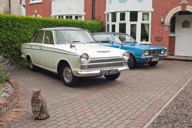 My 1966 Ford Cortina 1500 Super Mk1 and my 1974 Ford Cortina 2000 XL Mk3