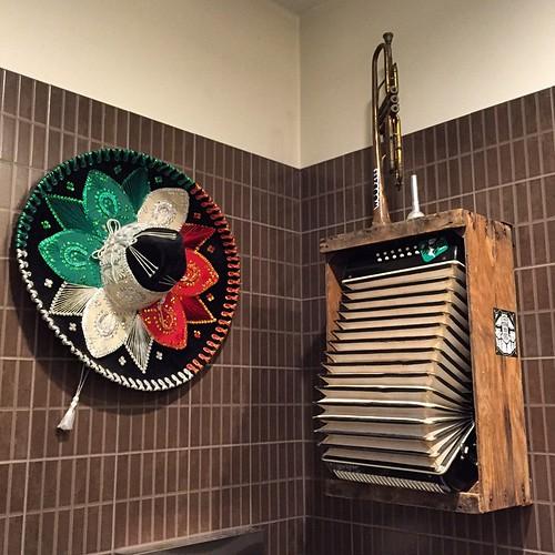 Party never stops. Restroom art inside Tacos Perla in #SanDiego