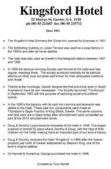 Kingsford Hotel history compiled by Tony Harnett