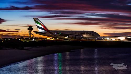 mascot newsouthwales australia au emirates ek airbus a380 syd yssy sydneyairport sunrise