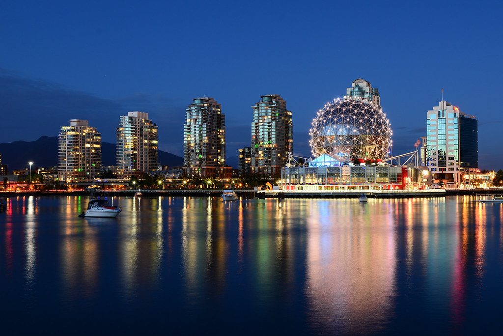 Vancouver cityscape at blue hour