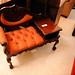 Mahogony and wine fabric telephone table