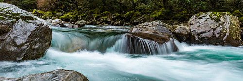 hollyford river crystal clear rocks water bush waterfall stream landscape longexposure movement