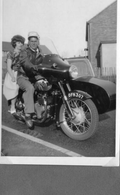 1963 - 01 - Joyce and John on motorbike