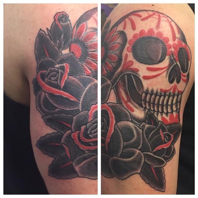 Austin Texas tattoo tattoos artist   skull roses sugar skull…   Flickr